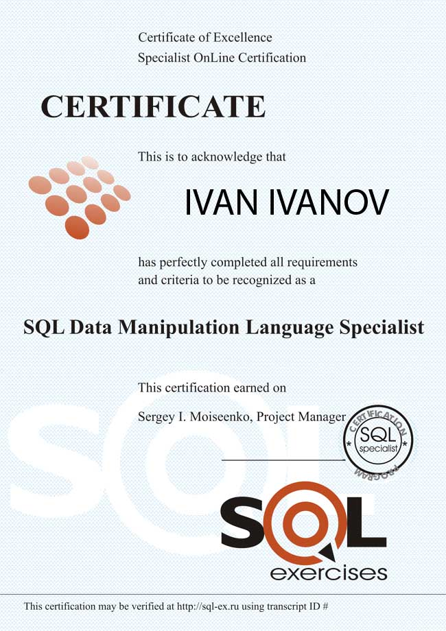 SQL (DML) Language Certification