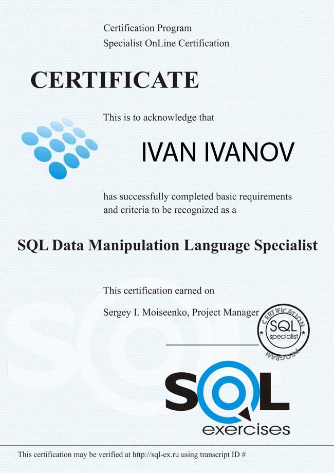 SQL (DML) Language Certification